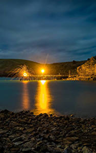 Обои Австралия Причалы Камень Уличные фонари Ночью Бухта Second Valley Природа