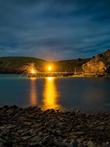 Обои Австралия Причалы Камень Уличные фонари Ночь Бухта Second Valley Природа