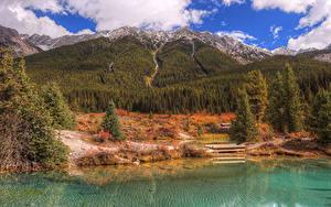 Фото Канада Осенние Парки Горы Озеро Леса Банф Природа