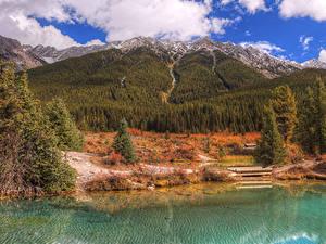 Фото Канада Осень Парк Горы Озеро Лес Банф Природа