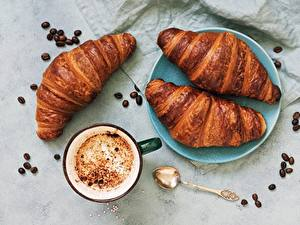 Фотографии Круассан Кофе Зерно Чашке
