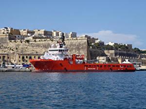 Фото Мальта Дома Причалы Корабли Заливы Valletta Города