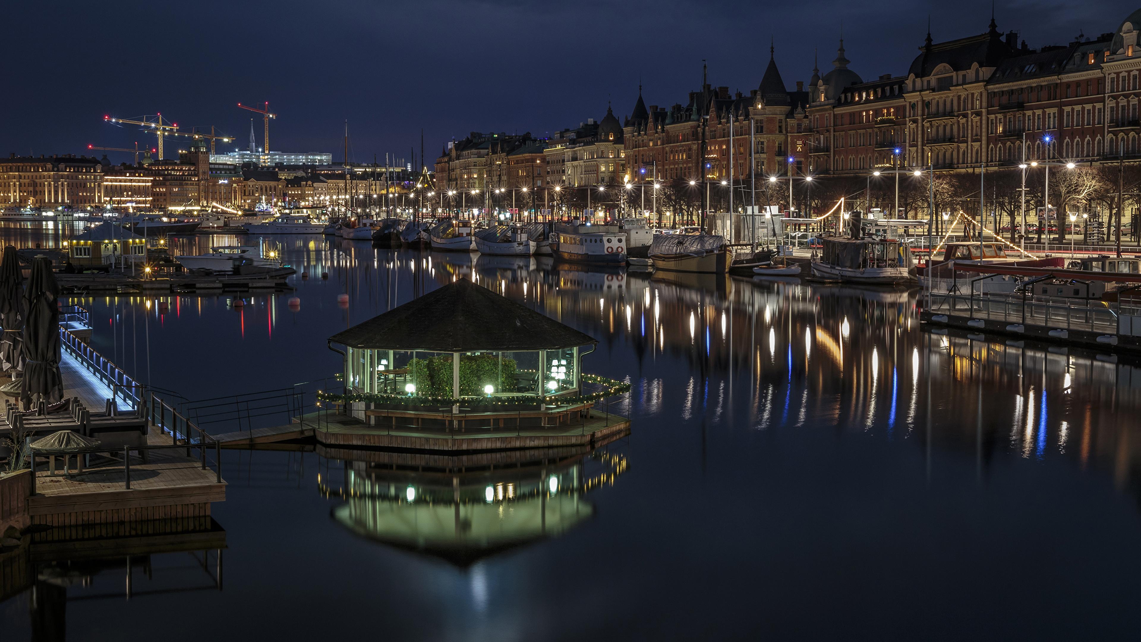 Обои корабль, швеция, дома, стокгольм, причал. Города foto 13
