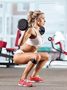 Фотографии Фитнес Ноги Штанга Блондинки молодые женщины Спорт