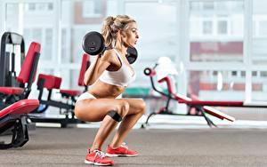 Фотографии Фитнес Ноги Штанга Блондинка Девушки Спорт