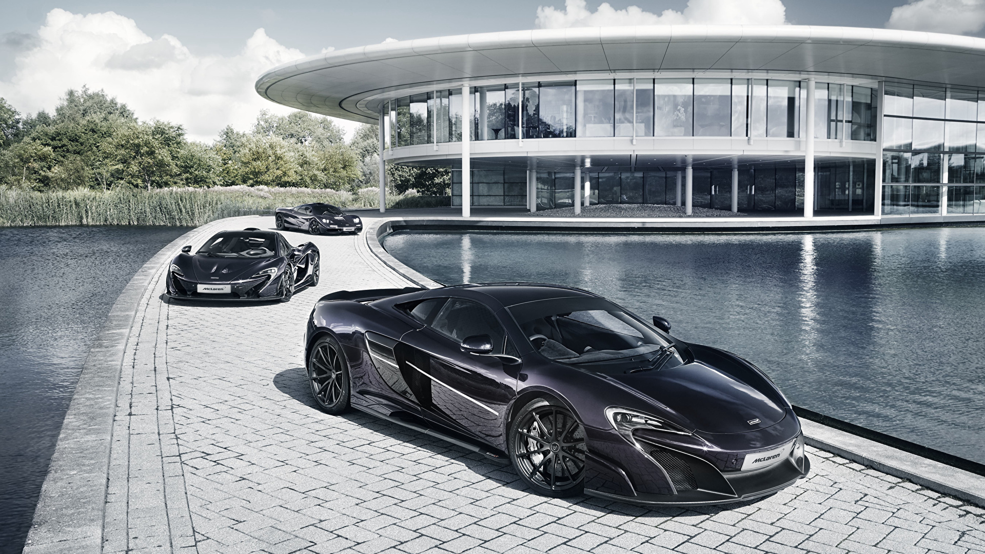 Обои Макларен Черный Трое 3 Металлик Автомобили 1920x1080 McLaren черных черные черная три авто машина машины втроем автомобиль