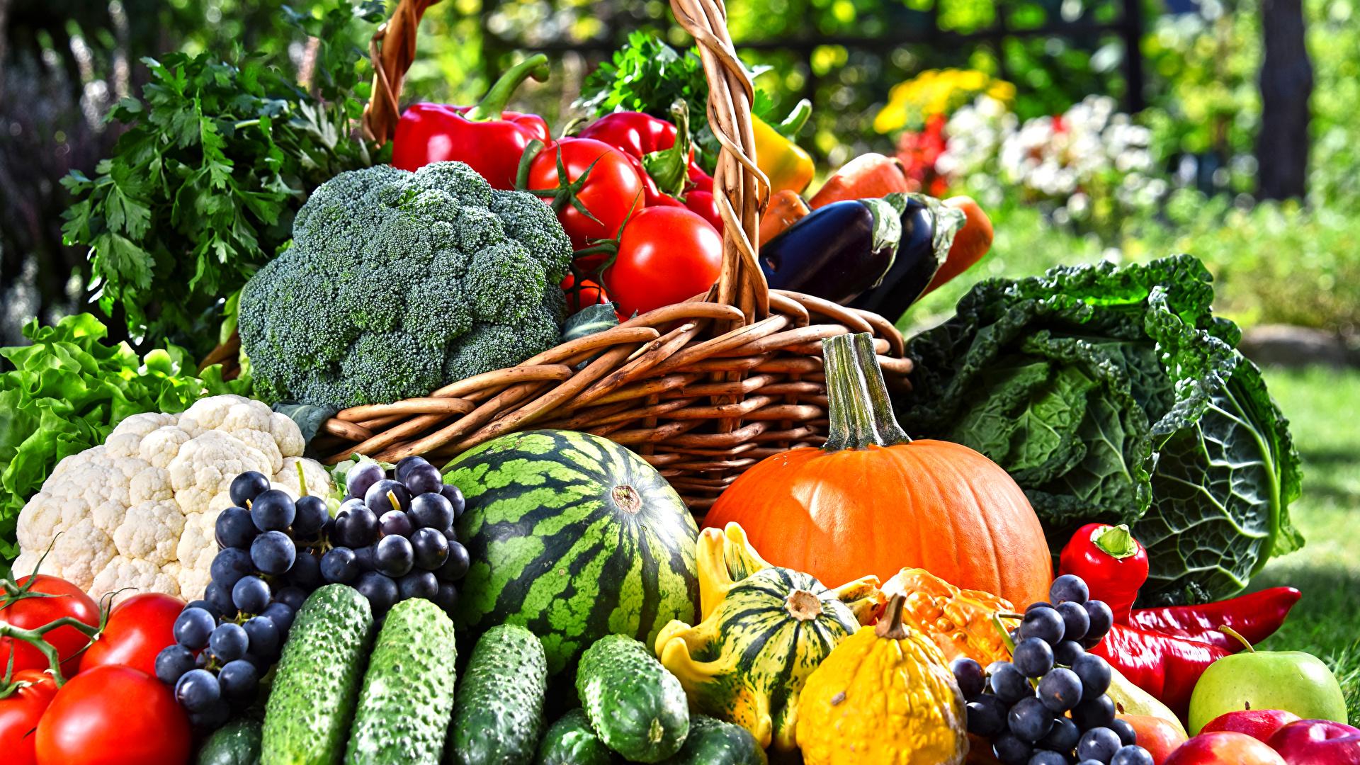 Фото Тыква Огурцы Помидоры Арбузы Виноград Еда Овощи 1920x1080 Томаты Пища Продукты питания