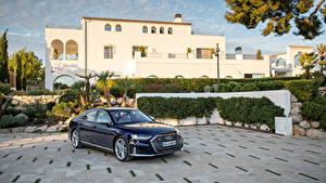 Обои для рабочего стола Audi Синих Металлик 2019-20 S8 Worldwide Автомобили