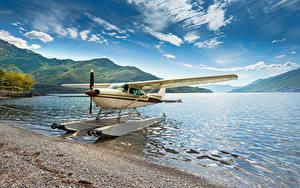 Фотографии Италия Озеро Самолеты Побережье Гидросамолёт Lake Como Авиация
