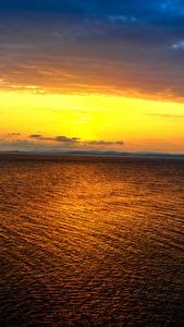 Картинка Море Рассветы и закаты Небо