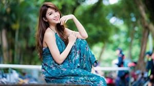 Фото Азиатка Платья Поза Размытый фон Милая Улыбается Шатенки Руки молодая женщина