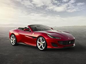 Фотография Ferrari Красные Металлик Кабриолета Portofino Gran Turismo 2017-19