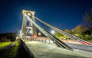 Фотографии Великобритания Мосты Уличные фонари Ночь Clifton Suspension Bridge Bristol Города