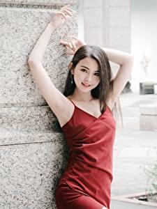 Картинки Азиатки Брюнетки Взгляд Платье Руки Поза Девушки