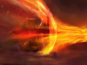 Картинки Dark Souls Огонь Щит Броня Меч компьютерная игра Фэнтези