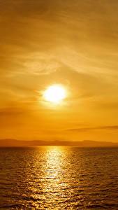 Обои Море Рассветы и закаты Небо