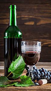 Фото Вино Виноград Бутылки Рюмка Листья