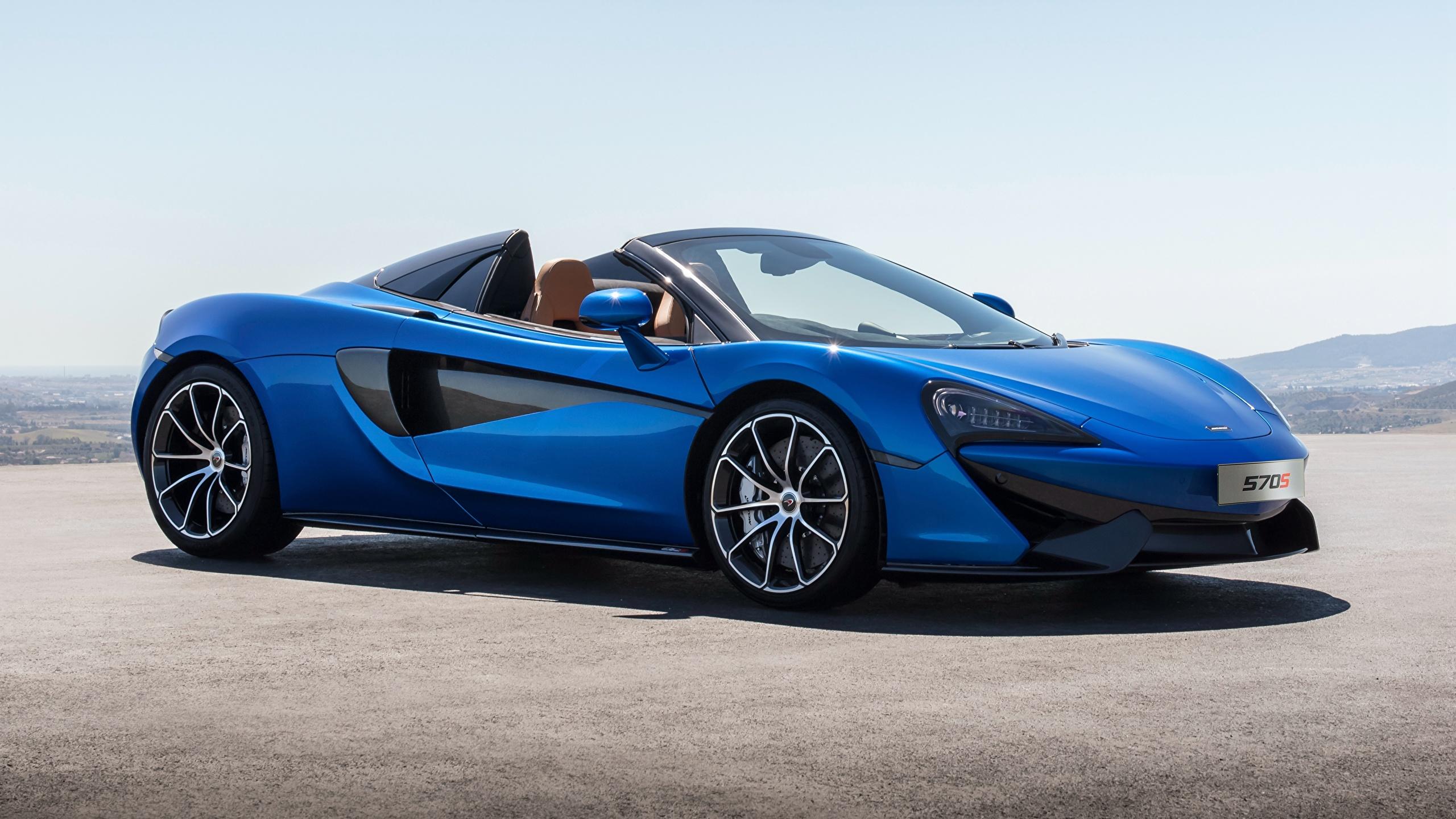 Картинки McLaren 2017 570S Spider Worldwide Родстер синие Автомобили 2560x1440 Макларен синих Синий синяя авто машина машины автомобиль