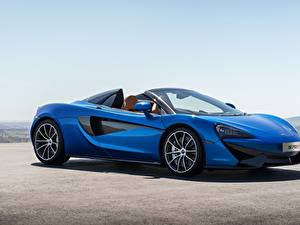Картинки McLaren Родстер Синий 2017 570S Spider Worldwide Машины