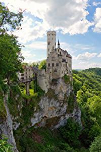 Картинка Германия Замок Скале Lichtenstein Castle