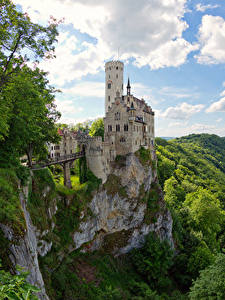 Картинка Германия Замки Скале Lichtenstein Castle Города