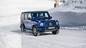 Картинки Мерседес бенц Синий SUV 2019 G 350 d Worldwide Машины