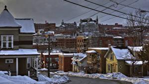 Картинки Канада Здания Зимние Квебек Улице Снеге Sherbrooke город