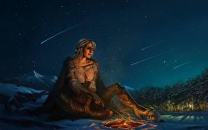 Фотография Ведьмак 3: Дикая Охота Небо Фан АРТ Костер Ночные Ciri or the Lion Cub of Cintra, Cirilla Fiona Elen Riannon Игры Девушки