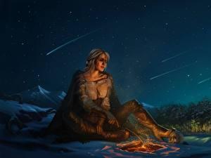 Фотография Ведьмак 3: Дикая Охота Небо Фан АРТ Костёр В ночи Ciri or the Lion Cub of Cintra, Cirilla Fiona Elen Riannon Игры Девушки