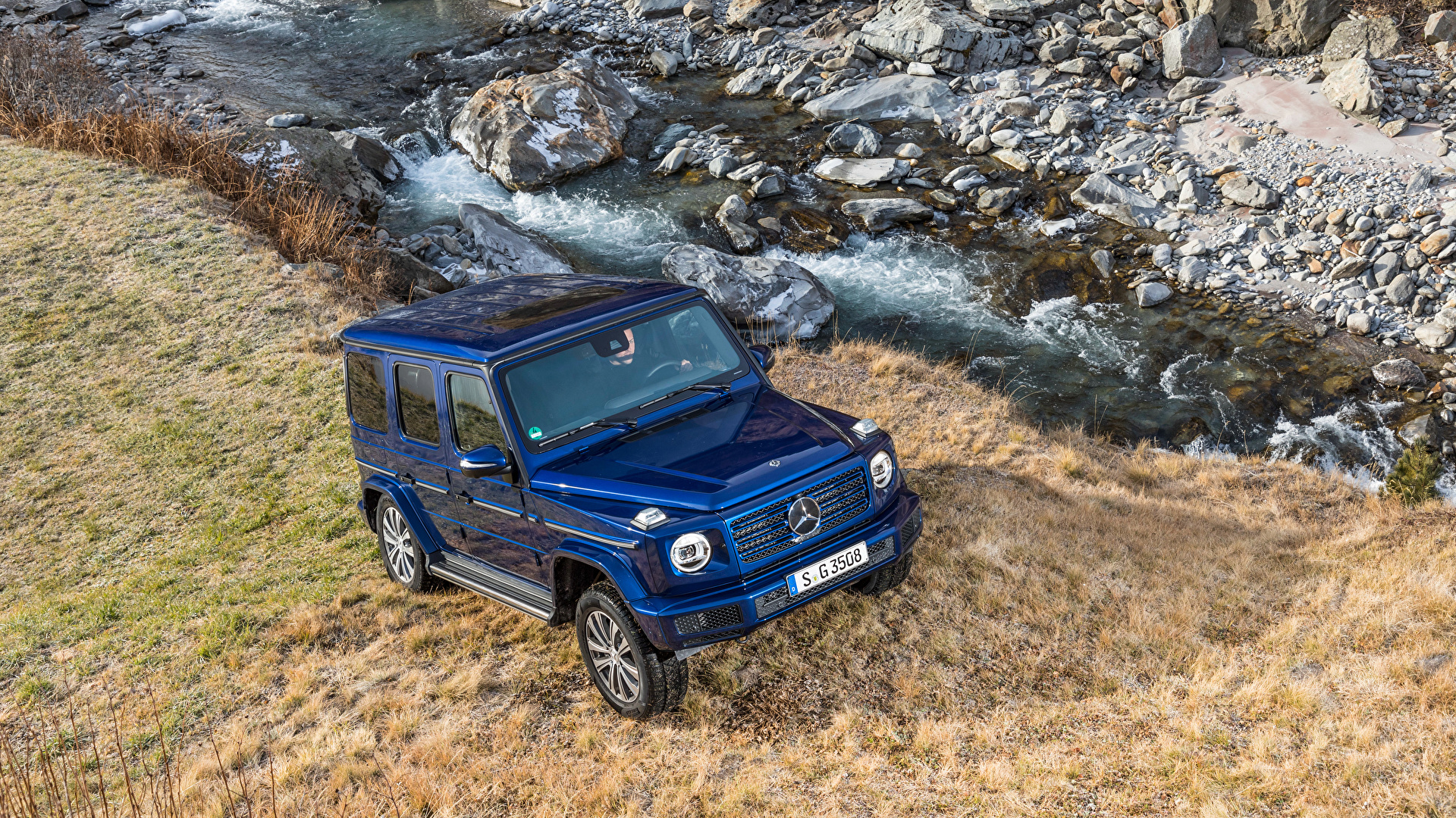 Фото Мерседес бенц SUV 2019 G 350 d Worldwide синие авто Металлик 1920x1080 Mercedes-Benz Внедорожник синих Синий синяя машина машины автомобиль Автомобили