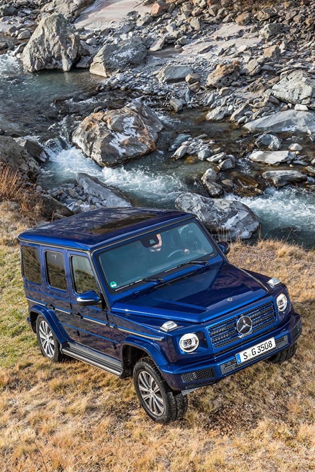 Фото Мерседес бенц SUV 2019 G 350 d Worldwide синие авто Металлик 640x960 для мобильного телефона Mercedes-Benz Внедорожник синих Синий синяя машина машины автомобиль Автомобили