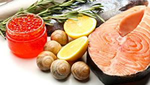 Фотографии Морепродукты Рыба Икра Лимоны Улитки Лососи Банка Продукты питания