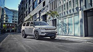 Картинки Jeep SUV Серый 2020 Grand Wagoneer Concept Автомобили
