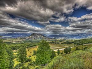 Фотографии Чили Пейзаж Горы Лес Луга Небо Облачно Траве HDRI Patagonia Природа