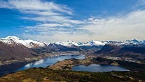 Картинки Горы Небо Норвегия Облака Helgehornet, fjords Природа