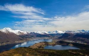 Картинки Гора Небо Норвегия Облачно Helgehornet, fjords Природа