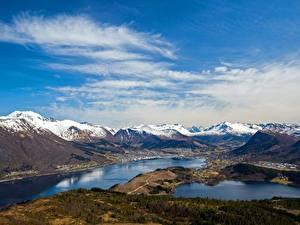 Картинки Горы Небо Норвегия Облака Helgehornet, fjords