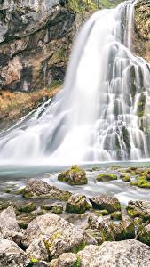 Фото Водопады Камни Скала Мох