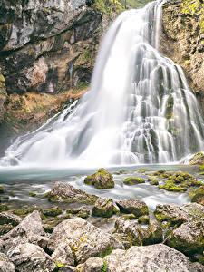 Фото Водопады Камни Скала Мха Природа