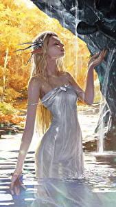 Обои Эльф Вода Legend of the Cryptids Платье Влажные Игры Девушки Фэнтези