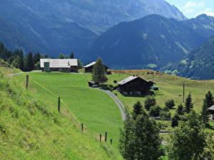 Картинка Швейцария Горы Дома Луга Альпы Champéry Природа