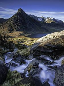 Обои Великобритания Гора Водопады Камни Пейзаж Скале Уэльс Capel Curig Природа