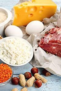 Фотографии Мясные продукты Сыры Орехи Творог Яйца Еда