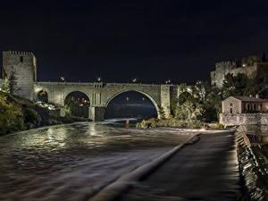 Фото Испания Толедо Речка Мосты Крепость Ночные город
