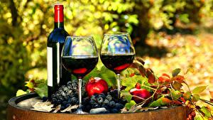 Обои Вино Виноград Гранат Бутылки Бокалы Два Еда