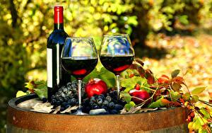Обои Вино Виноград Гранат Бутылки Бокалы Два