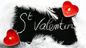 Фотографии Перья Свечи Огонь День всех влюблённых Сердце Английский