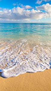 Картинка Тропики Пейзаж Побережье Волны Океан Гавайи Песок Облака Горизонт