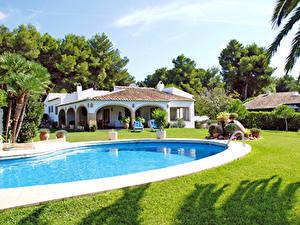 Обои Испания Вилла Дома Плавательный бассейн Газон Costa Blanca город