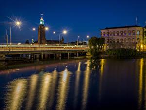 Фотография Стокгольм Швеция Здания Реки Мосты Ночные Уличные фонари Города